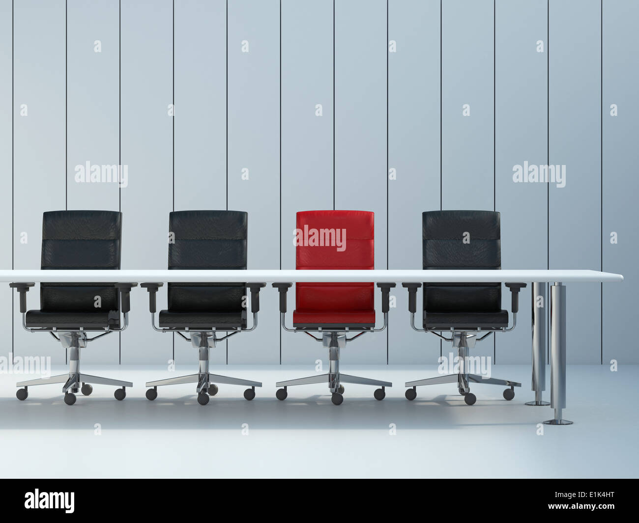 Four Office Chairs And Conference Table In Front Of Grey Wall Panel - Grey conference table