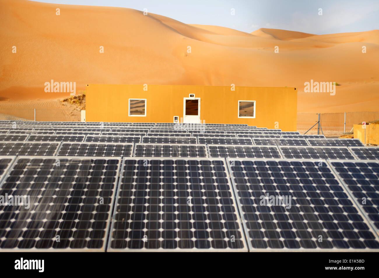 Solar panels in Liwa desert - Stock Image