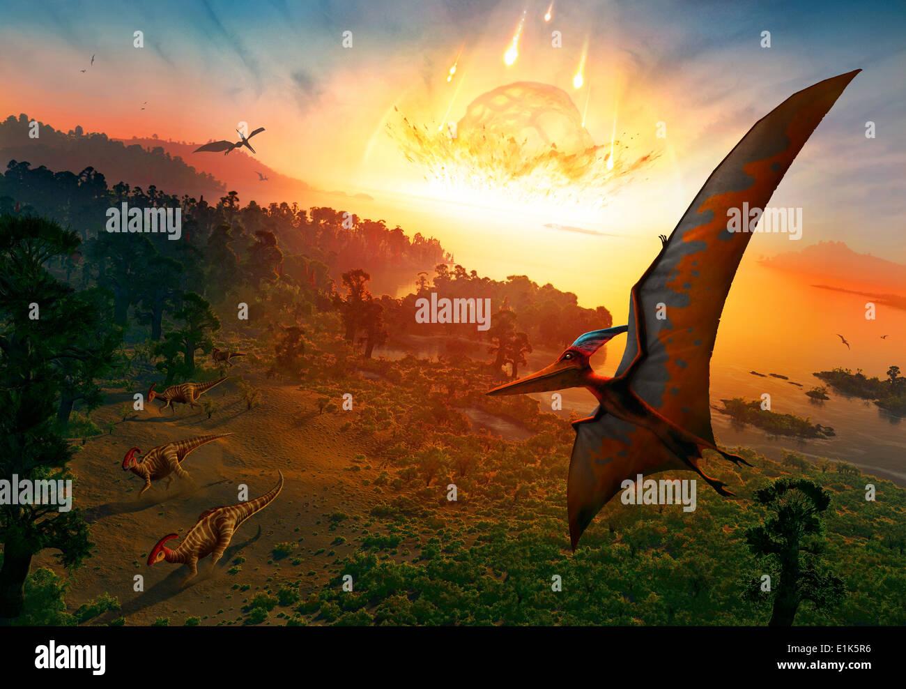 Artwork depicting the extinction of the dinosaurs some 65 million years ago Scientists are now as certain as they - Stock Image