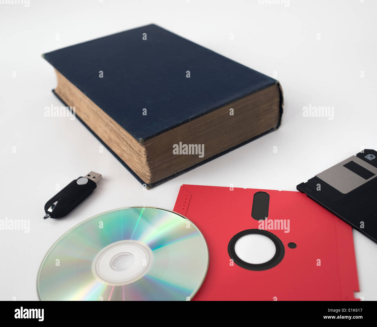 Development of data storage technology: USB flash drive DVD 15 year old 3  inch and 30 year old 5  inch floppy disks Stock Photo