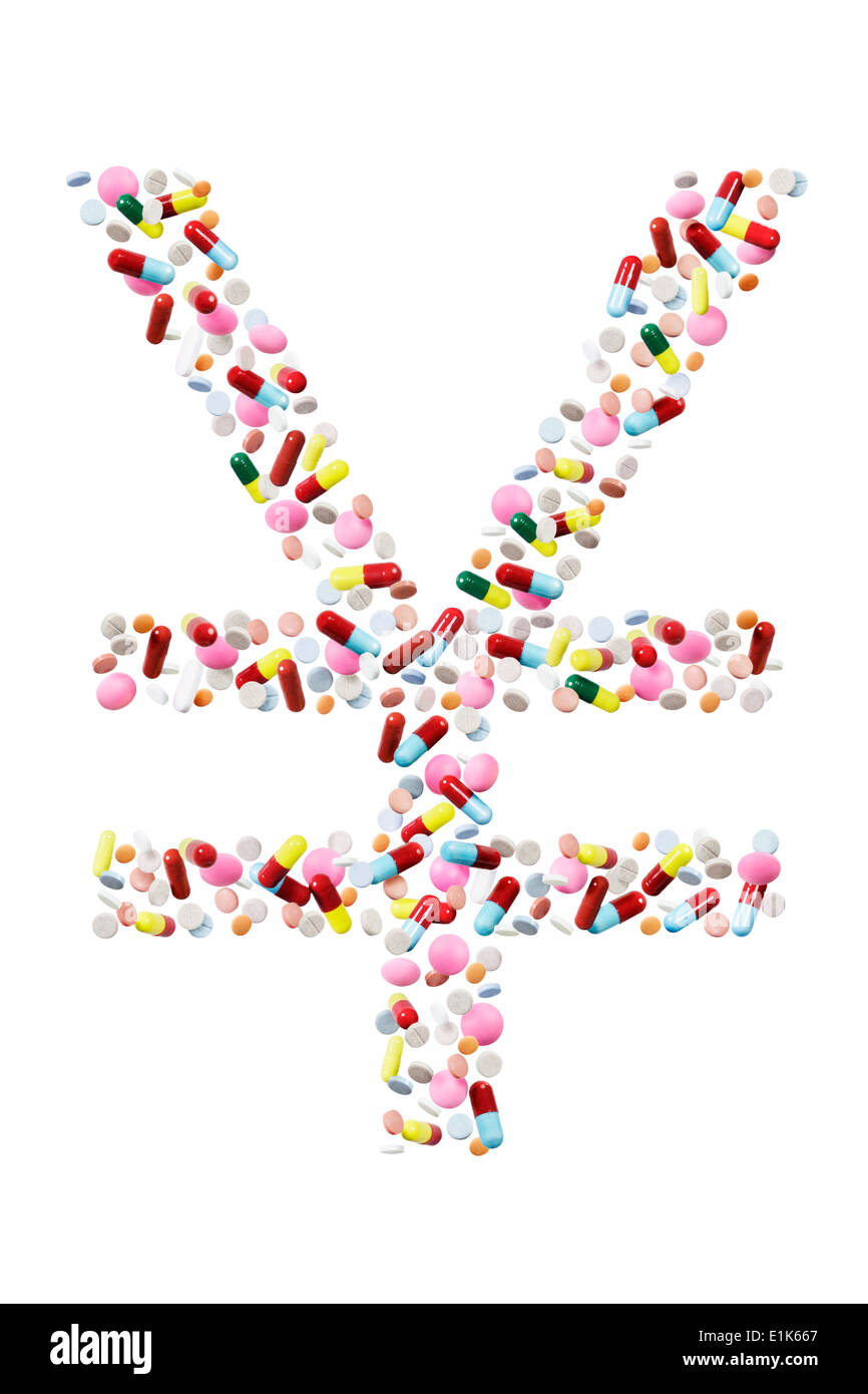 Yen symbol or Yuan currency symbol made from pills. - Stock Image