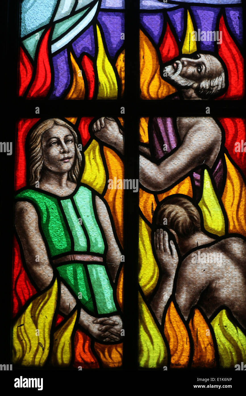 Stained glass : Hell - Stock Image