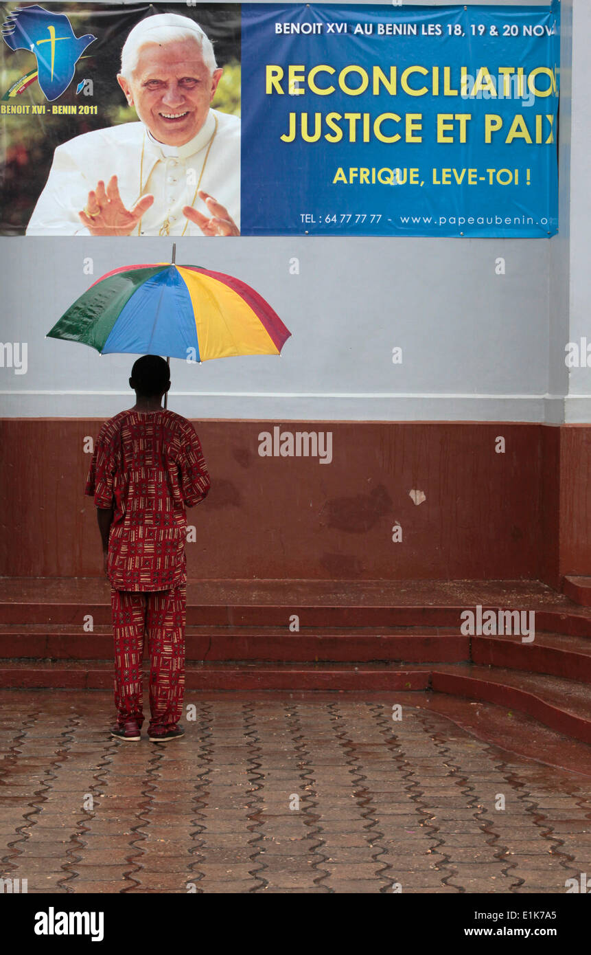 Pope Benedict's visit to Benin poster - Stock Image