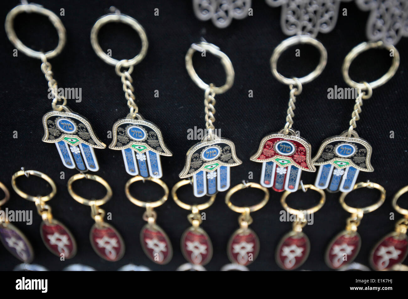 The hamesh hand or hamsa hand is a popular motif in Jewish jewelry. - Stock Image