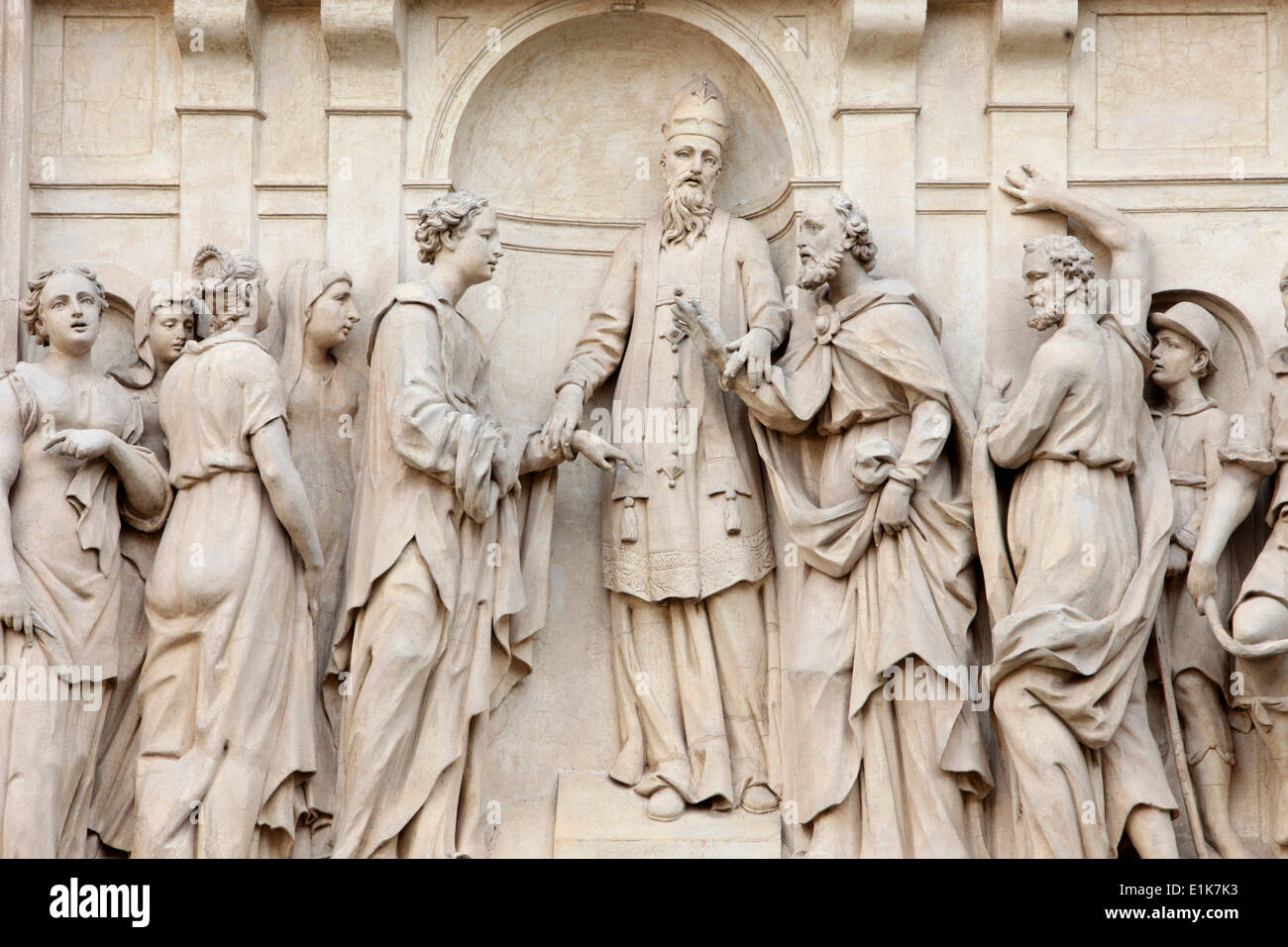 Loreto church sculpture. Mariage of Joseph and Mary - Stock Image