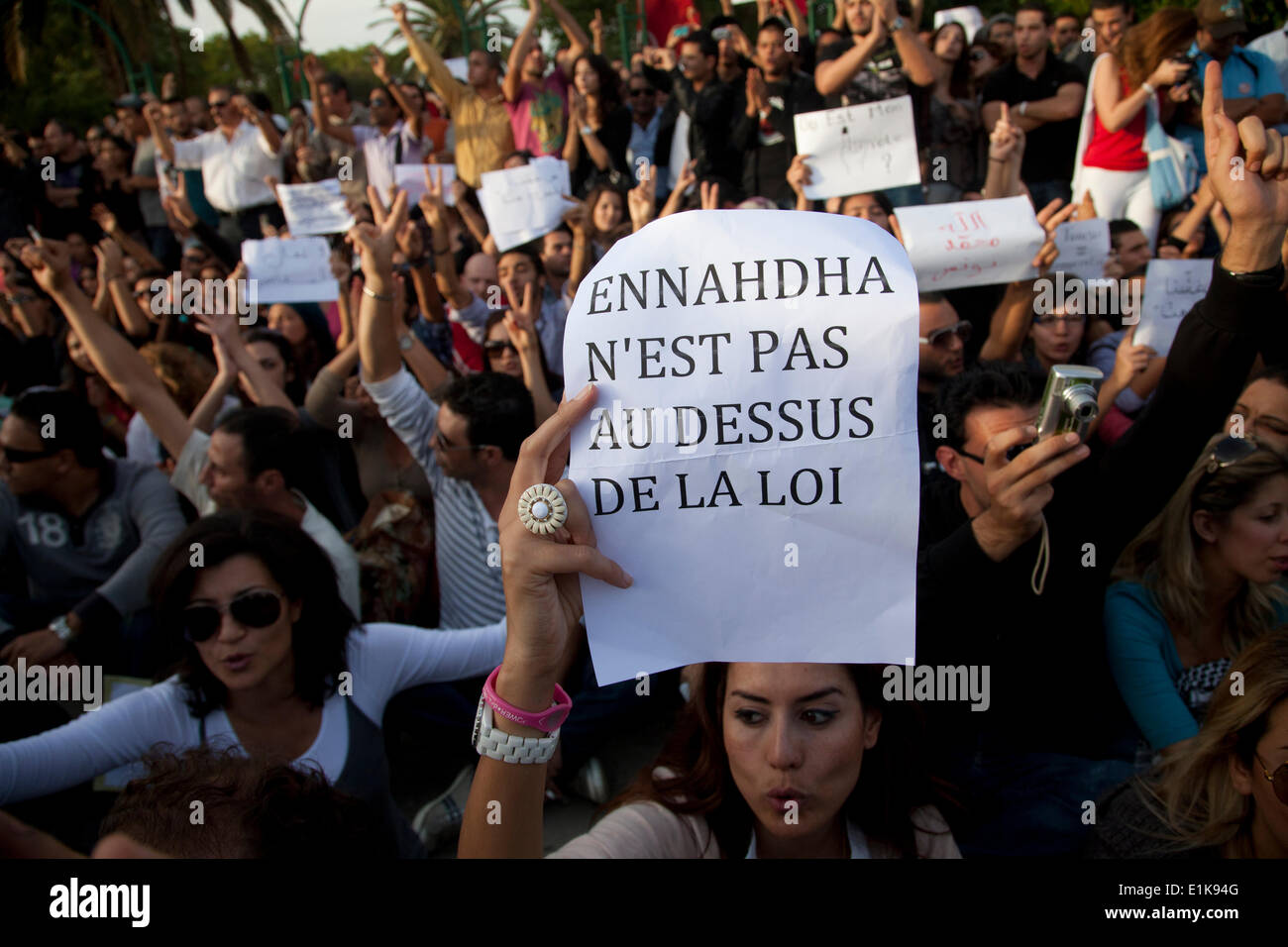Demonstration again electoral fraud by islamist Ennahdha party, during the elections of the Constituent assembly, Stock Photo