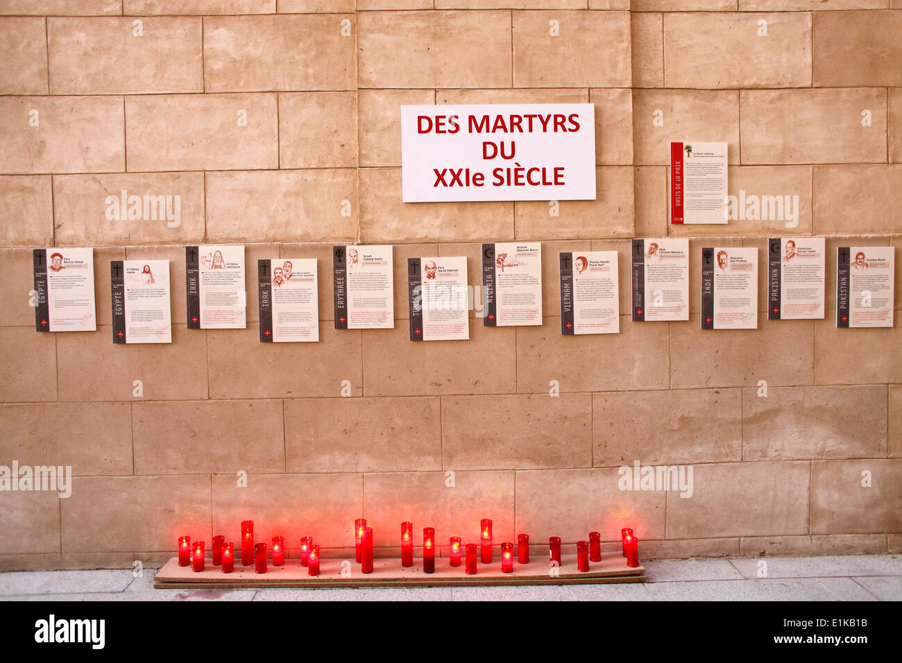 Tribute to the christian martyrs of the 21st century - Stock Image