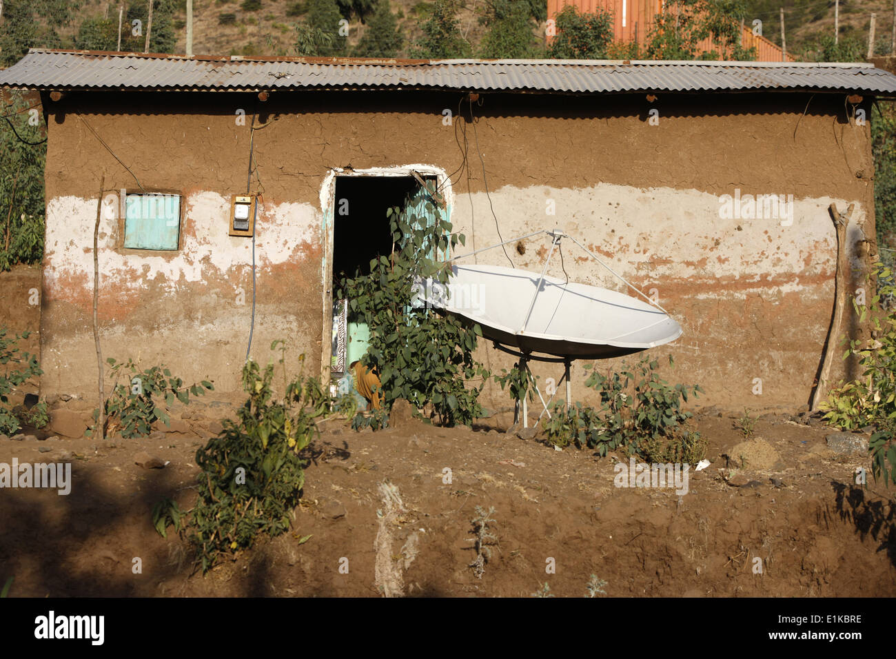 Sattellite dish and house in Lalibela - Stock Image
