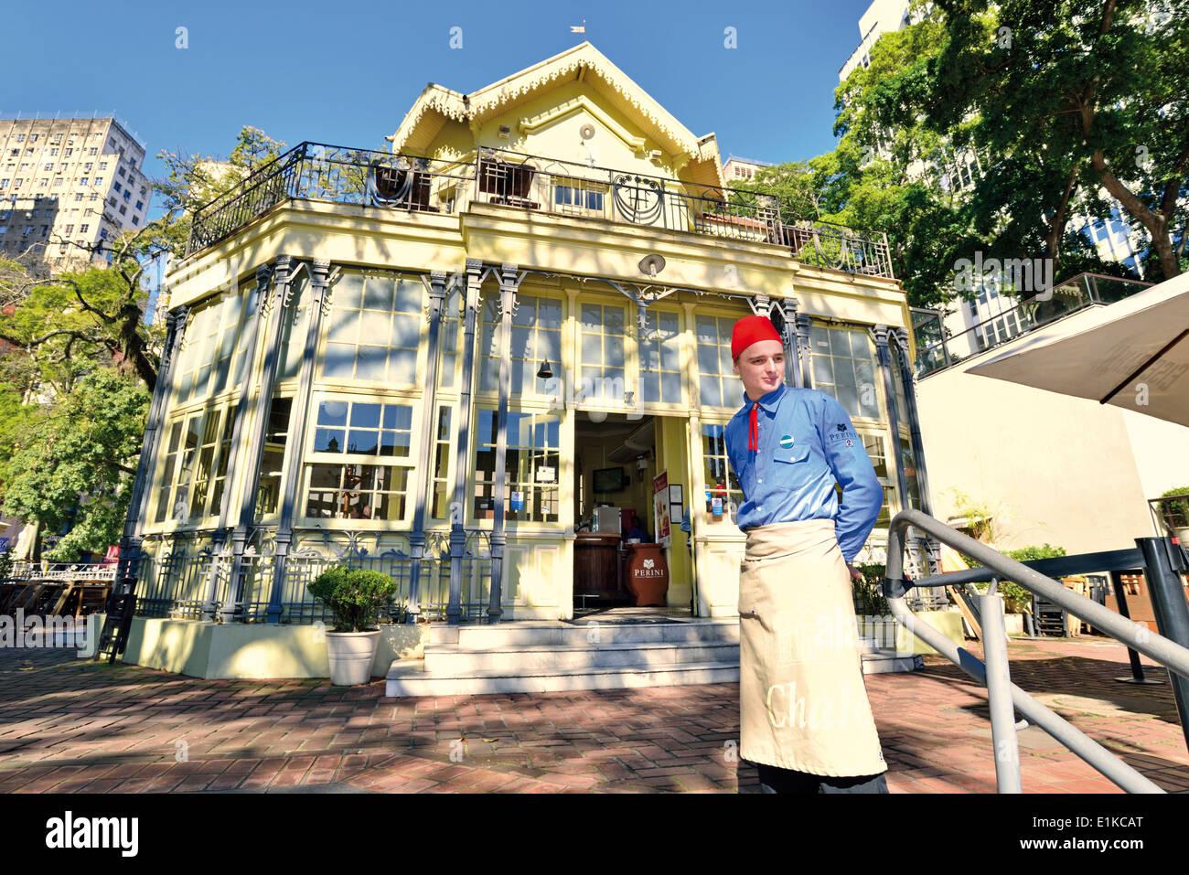 Brazil, Porto Alegre: Historic Art Nouveau restaurant and beer house 'Chalet da Praca XV' - Stock Image