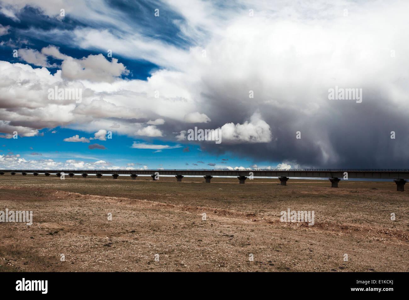 Railroad in Tibet, China - Stock Image