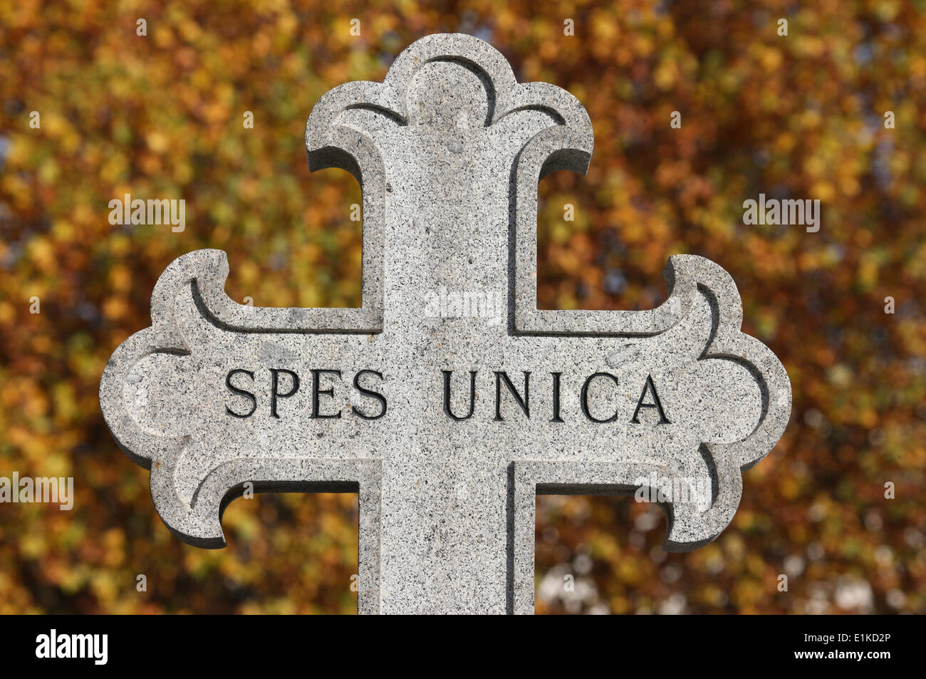 Spes Unica = One hope. Cross in the Pre Lachaise graveyard. - Stock Image