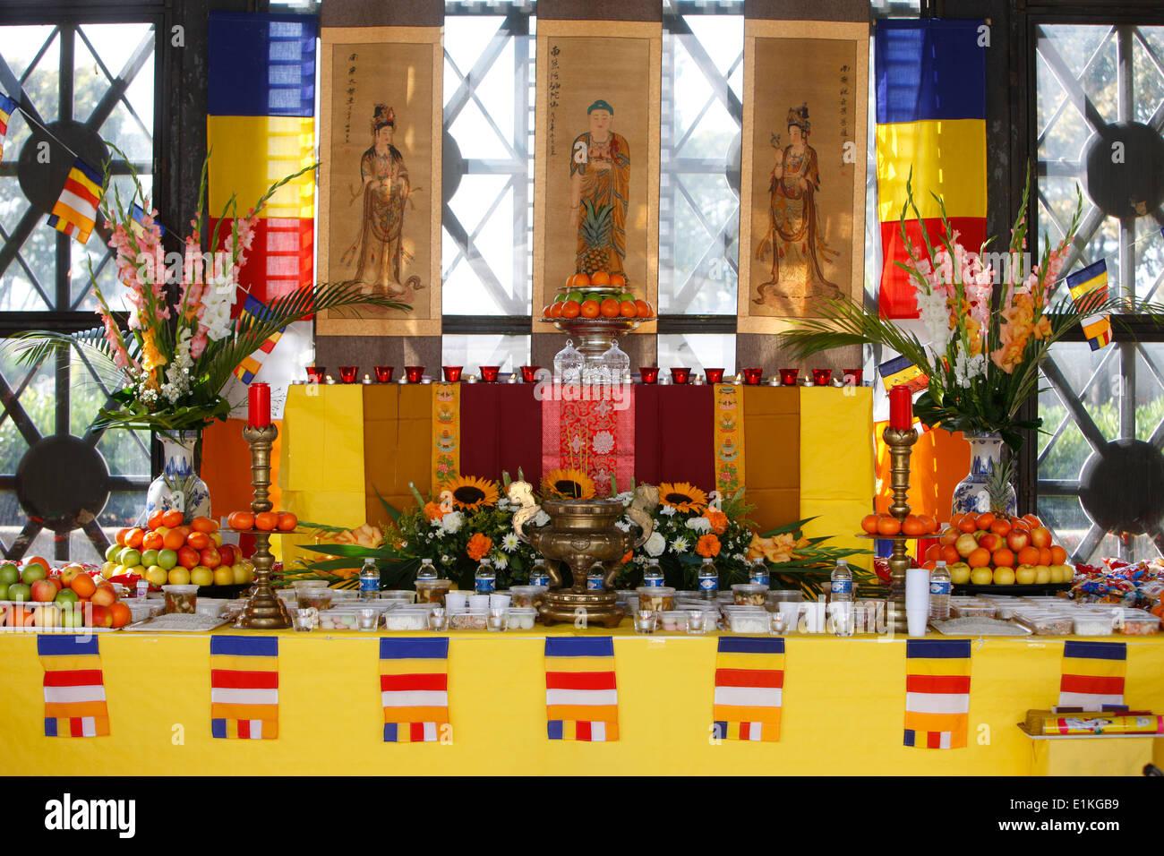 Buddhist altar for Ullambana wandering soul ceremony - Stock Image