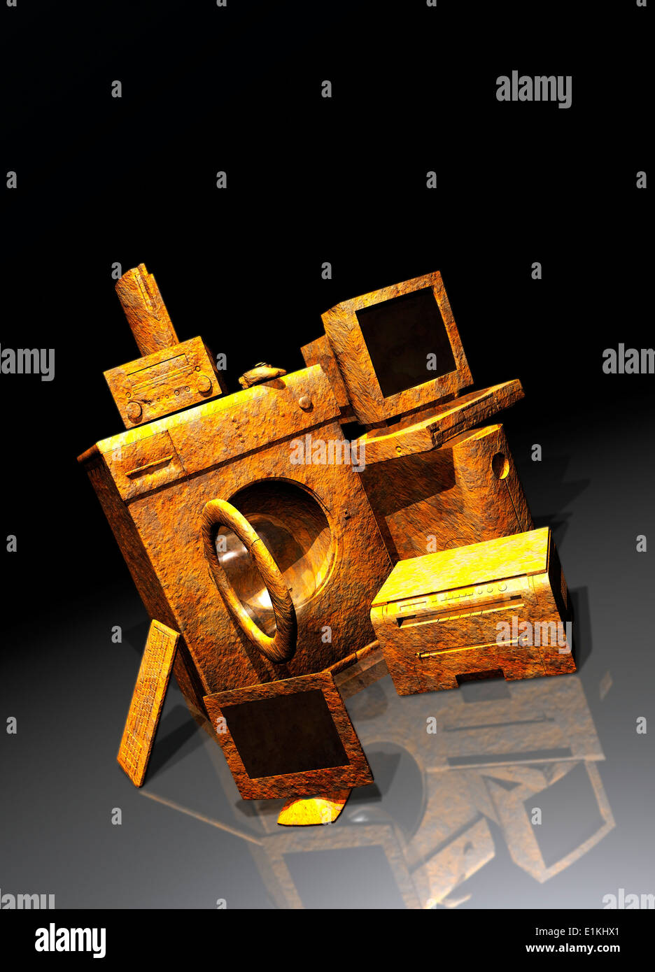 Artwork of household appliances obsolescence concept. - Stock Image