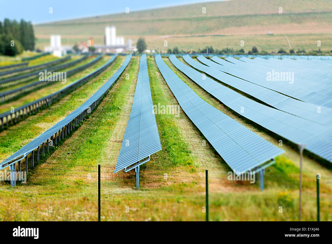 Solar panels in a row. - Stock Image