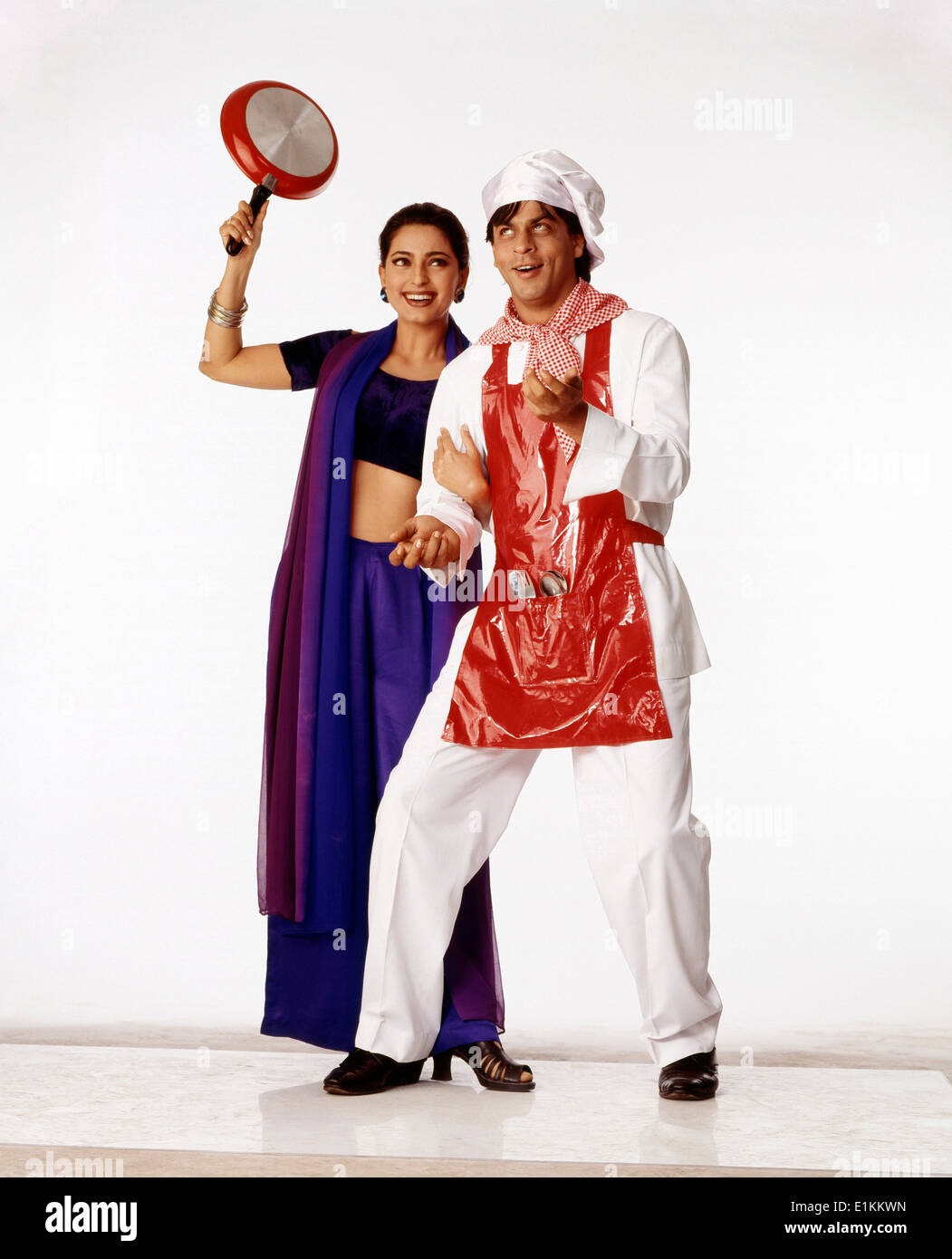 Indian Bollywood Film Actor Shahrukh Khan And Actress Juhi Chawla In