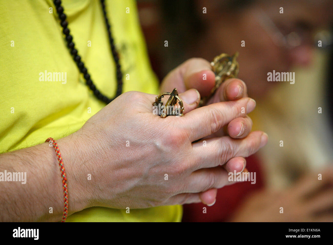 Buddhism student at Vajradhara-Ling temple - Stock Image