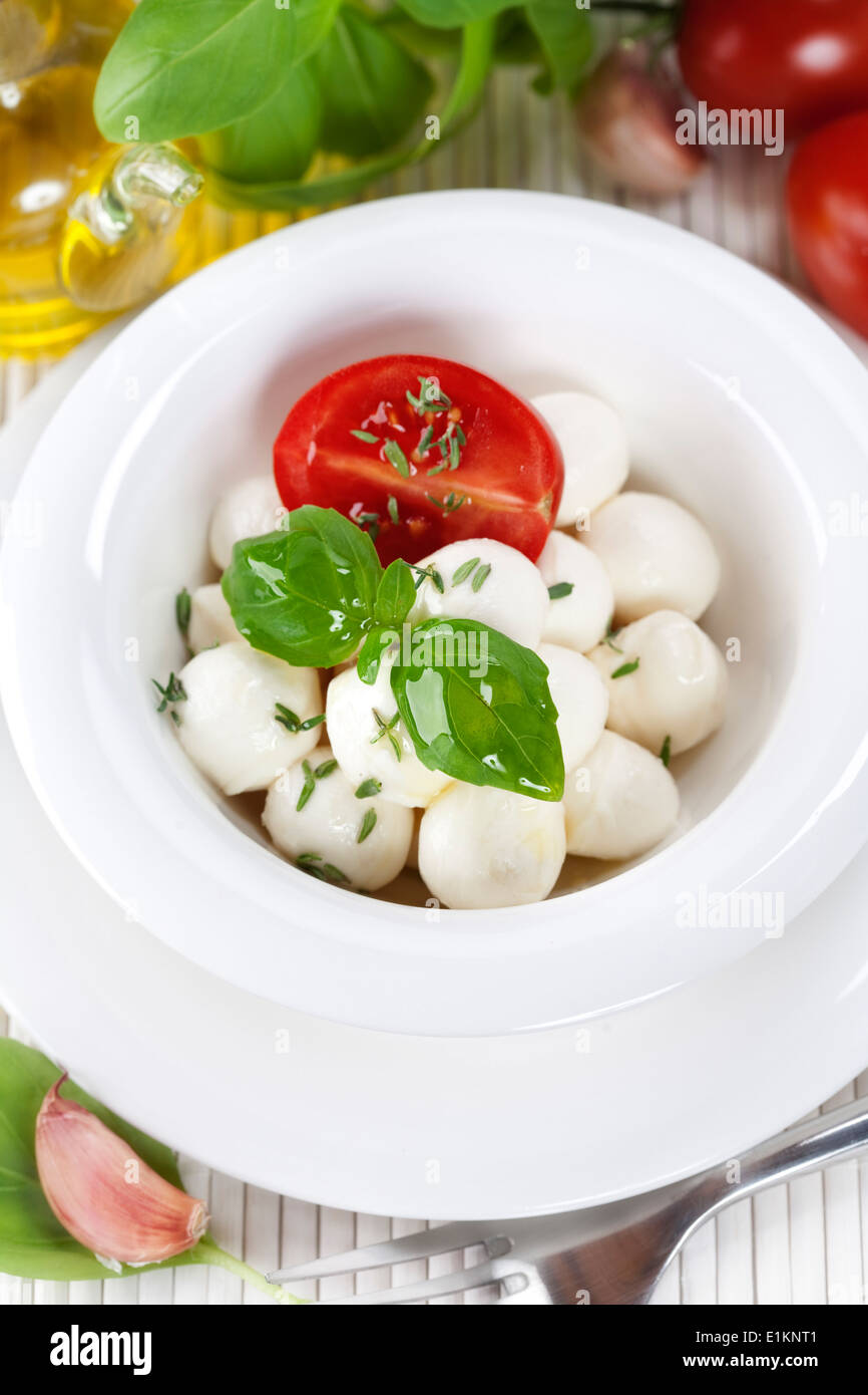 mozzarella with fresh basil, olive oil, garlic and tomatoes - Stock Image