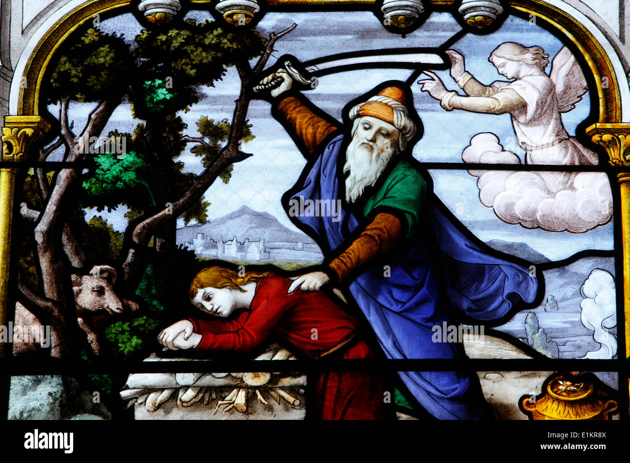 Saint Aignan Church. Abraham Sacrificing Isaac - Stock Image