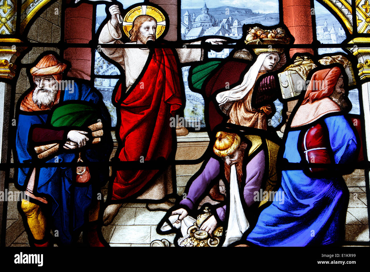 Saint Aignan Church. Jesus chasing the merchants from the Temple - Stock Image
