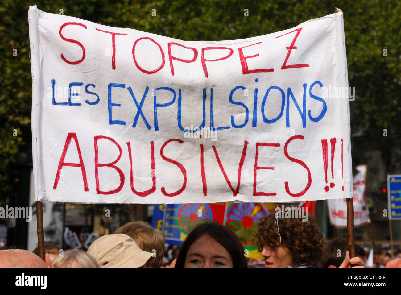 Demonstration against evictions of illegal Roma - Stock Image