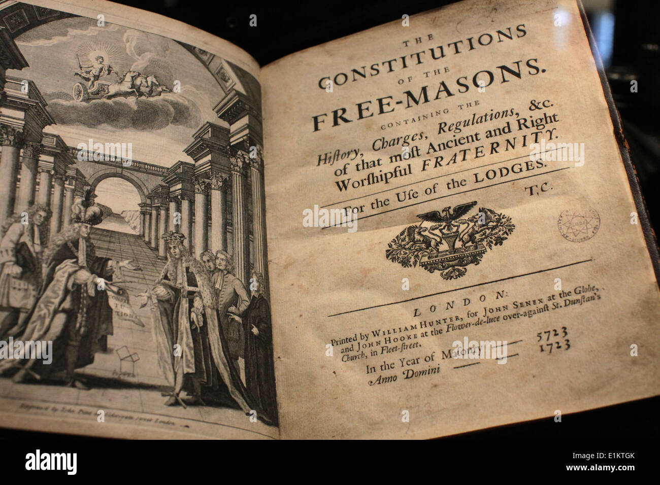 Title Page of the Freemason Constitution.  Freemasons' museum. - Stock Image