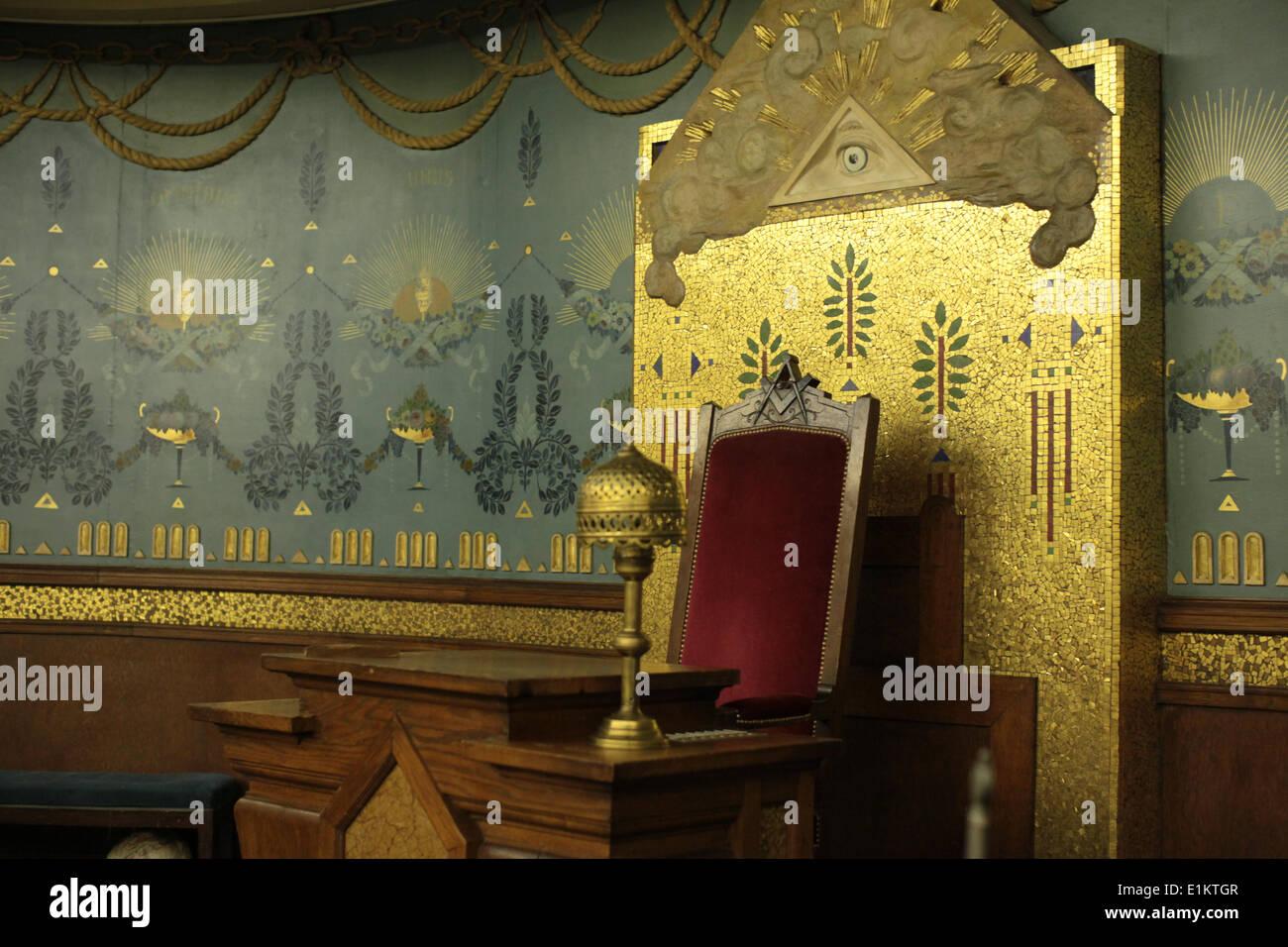 The Grand Orient de France (GODF).  Masonic lodge. - Stock Image