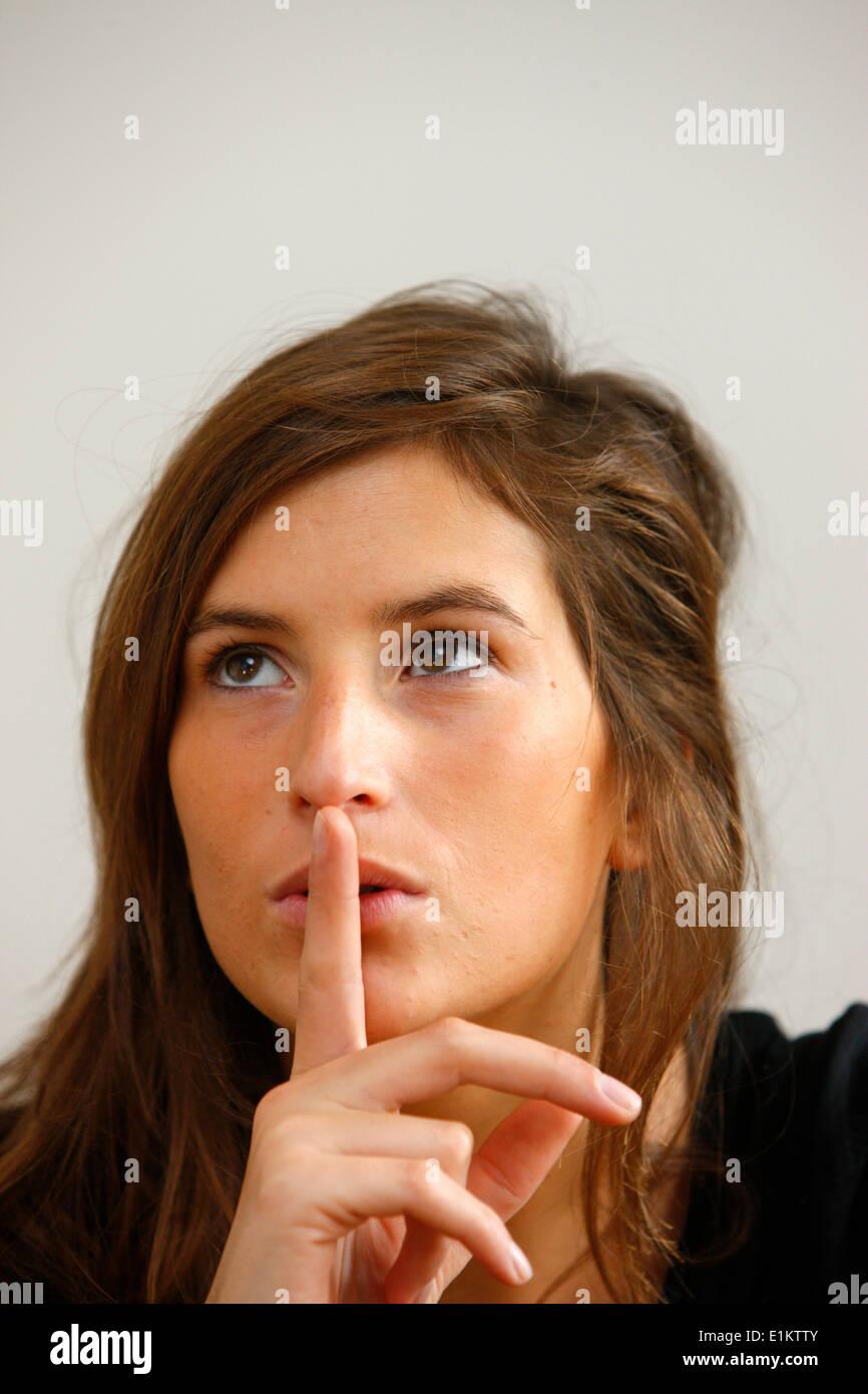 Young woman. Silence. - Stock Image