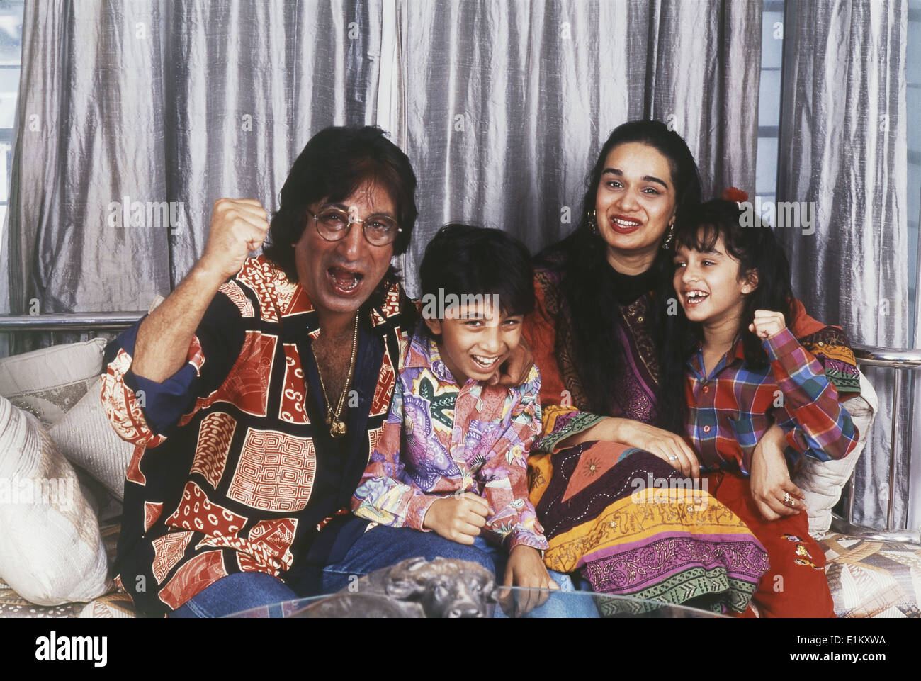 portrait of indian film actor shakti kapoor with his family stock