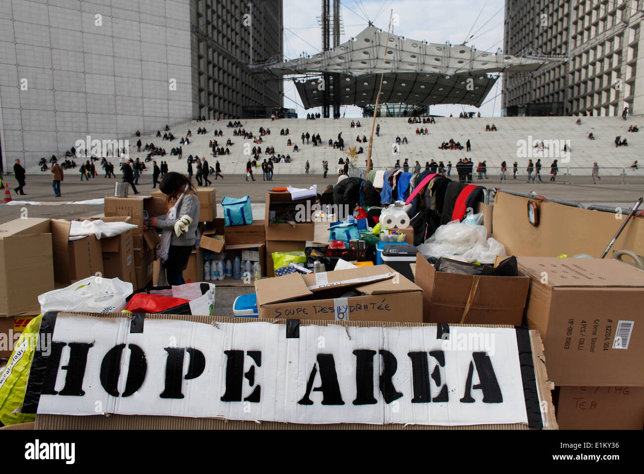 Protest camp at La Defense business district - Stock Image