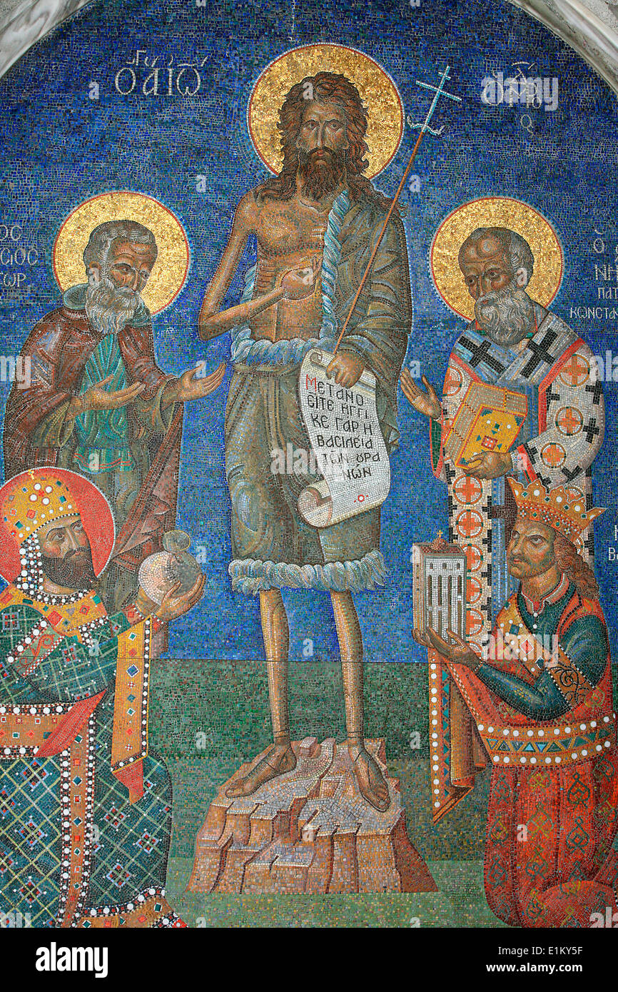 Orthodox mosaic depicting Saint John the Baptist with bishops and kings Stock Photo