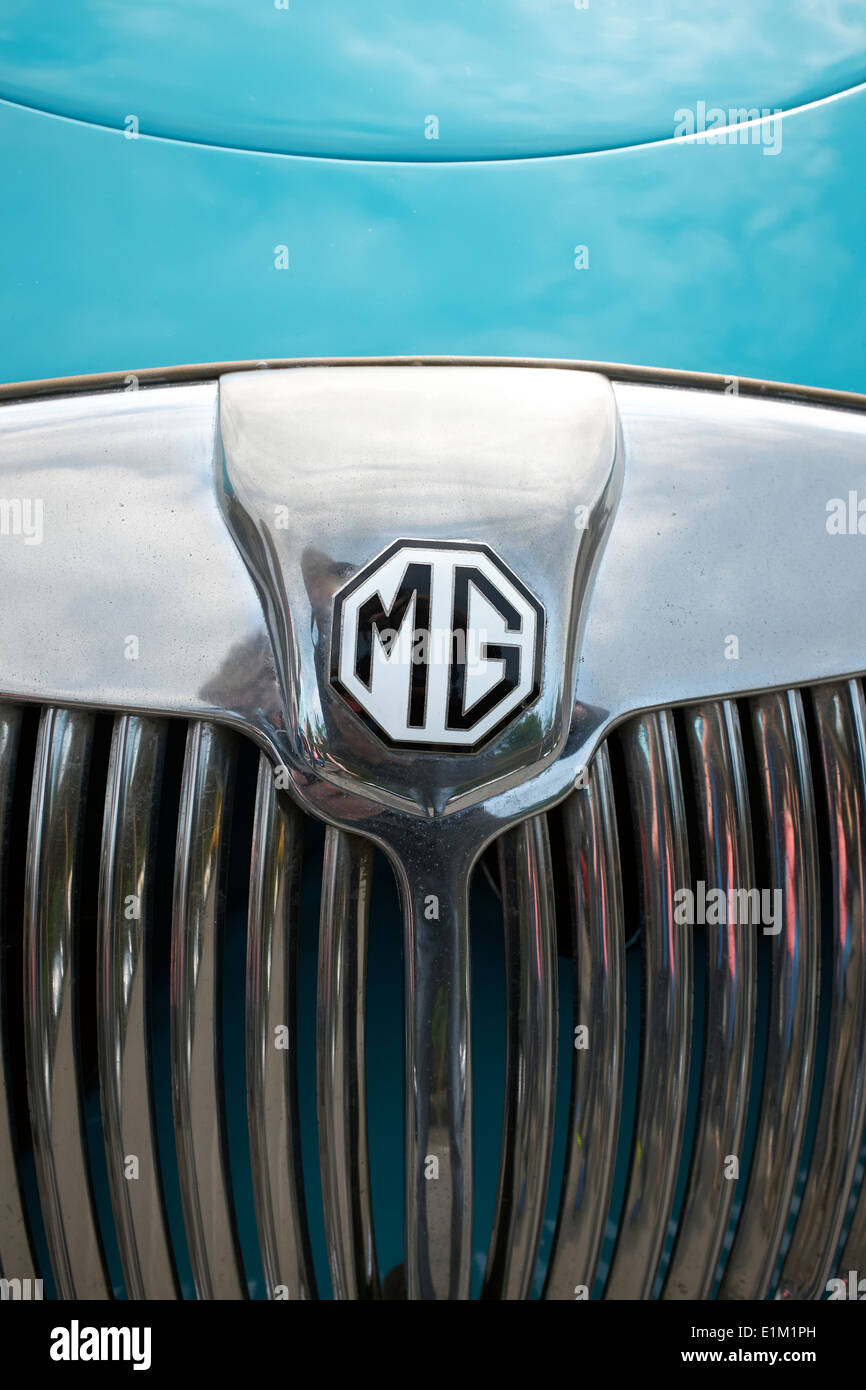Classic MG Car Grill and Badge - Stock Image