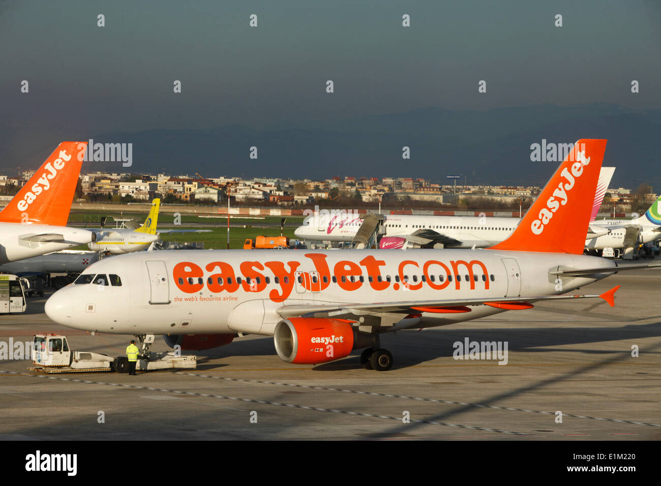 Low-cost airliner at Naples airport - Stock Image