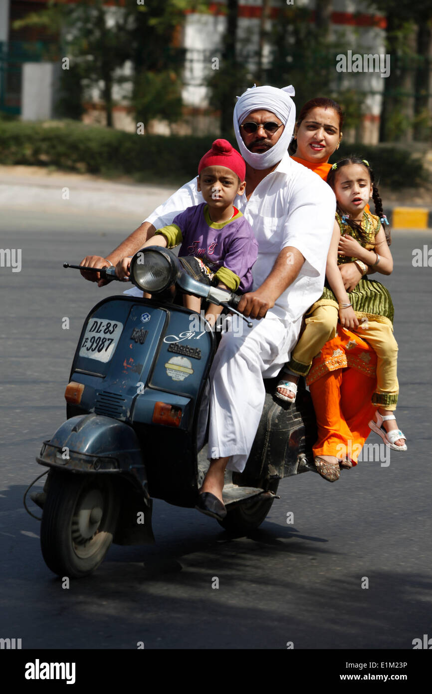 Sikh family on a scooter - Stock Image