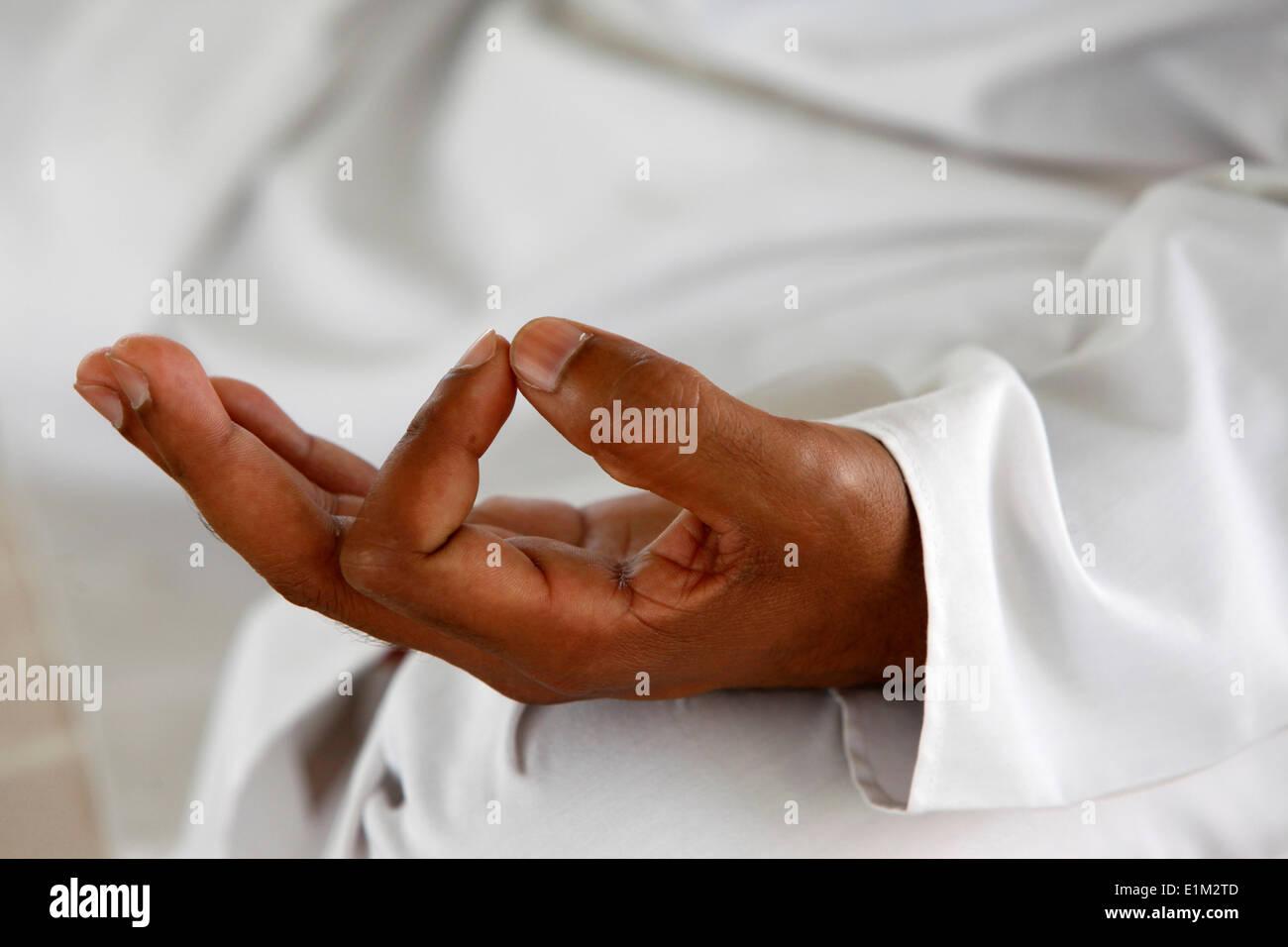 Yoga class at Patanjali Yog Vidyapith - Stock Image