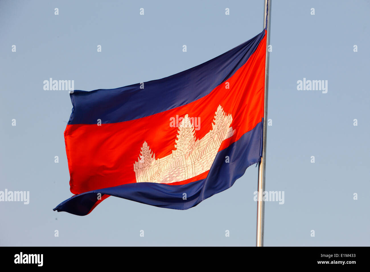 Cambodian flag with Angkor Vat. - Stock Image