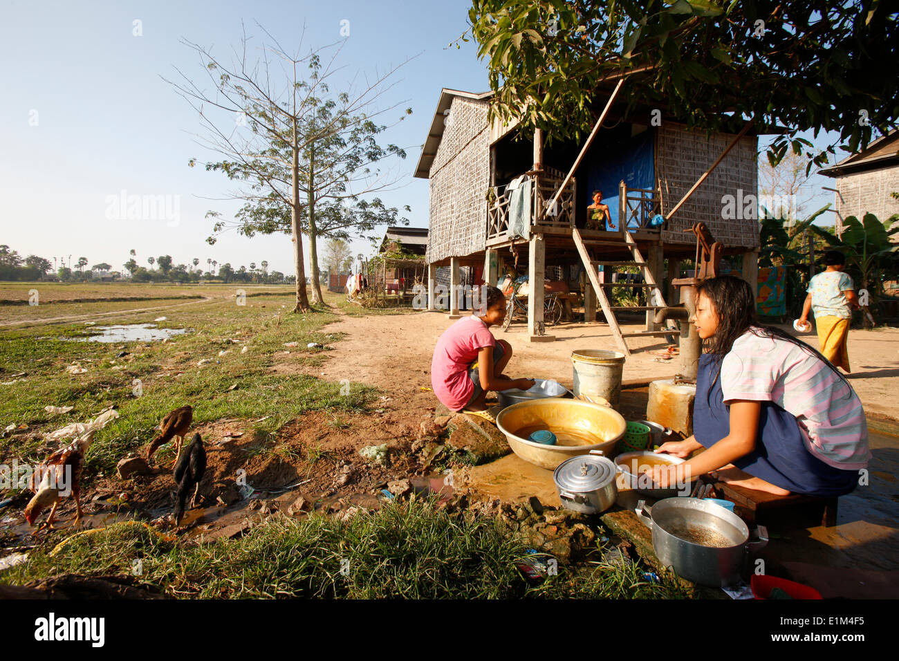 Daily life in a cambodian village. Water supply. - Stock Image