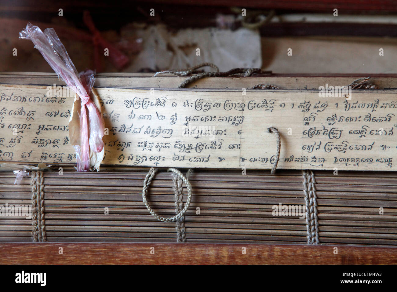 Pali scriptures in the Silver Pagoda - Stock Image
