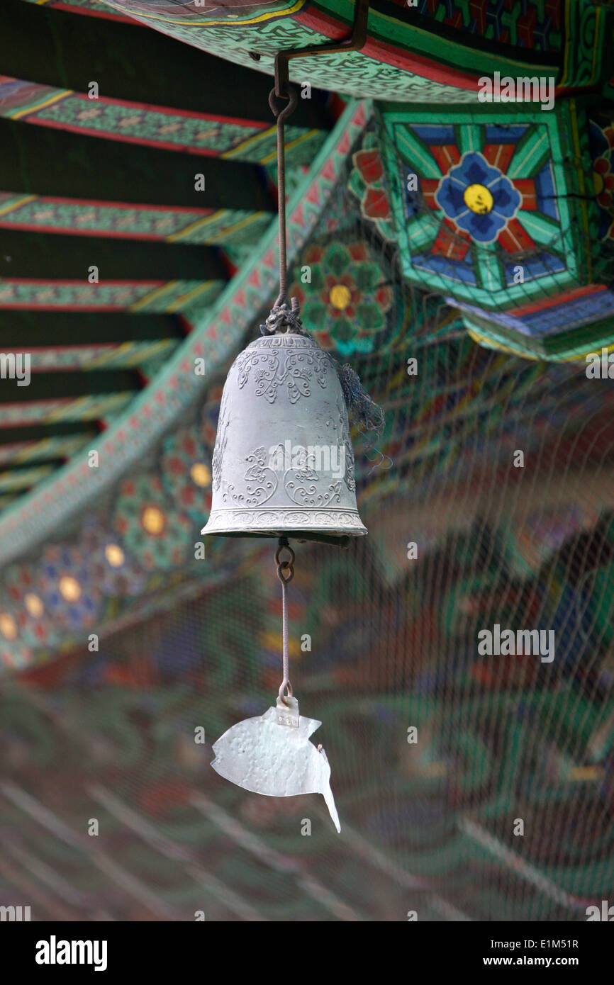 Bouddhist wind bell. The fish-shaped chime honors those creatures which never close their eyes. - Stock Image