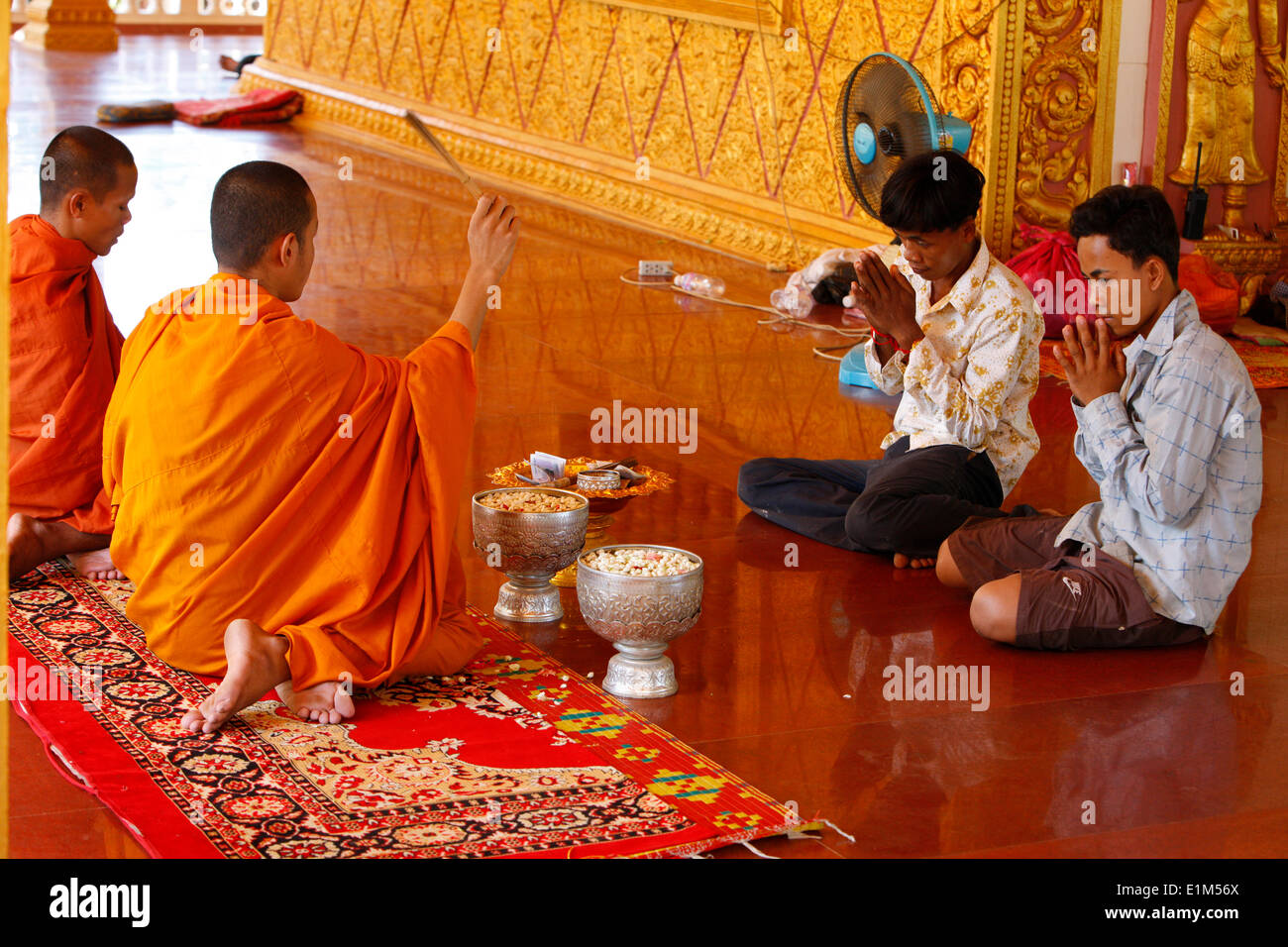 Buddhist ceremony in a cambodian Pagoda. Stock Photo