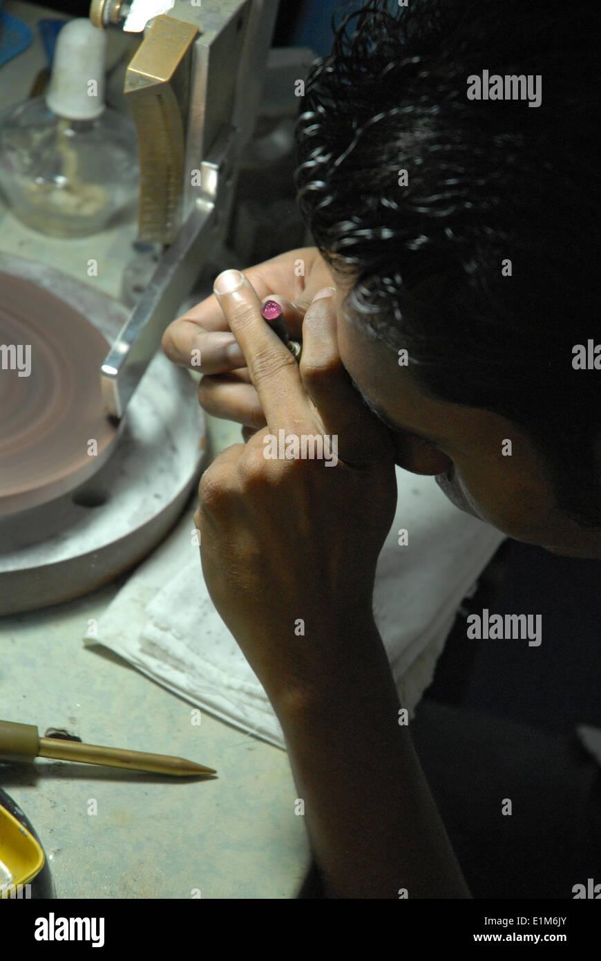 Gem polishing - Stock Image