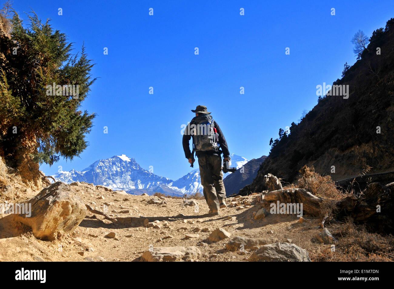 Trekker in Mustang - Stock Image