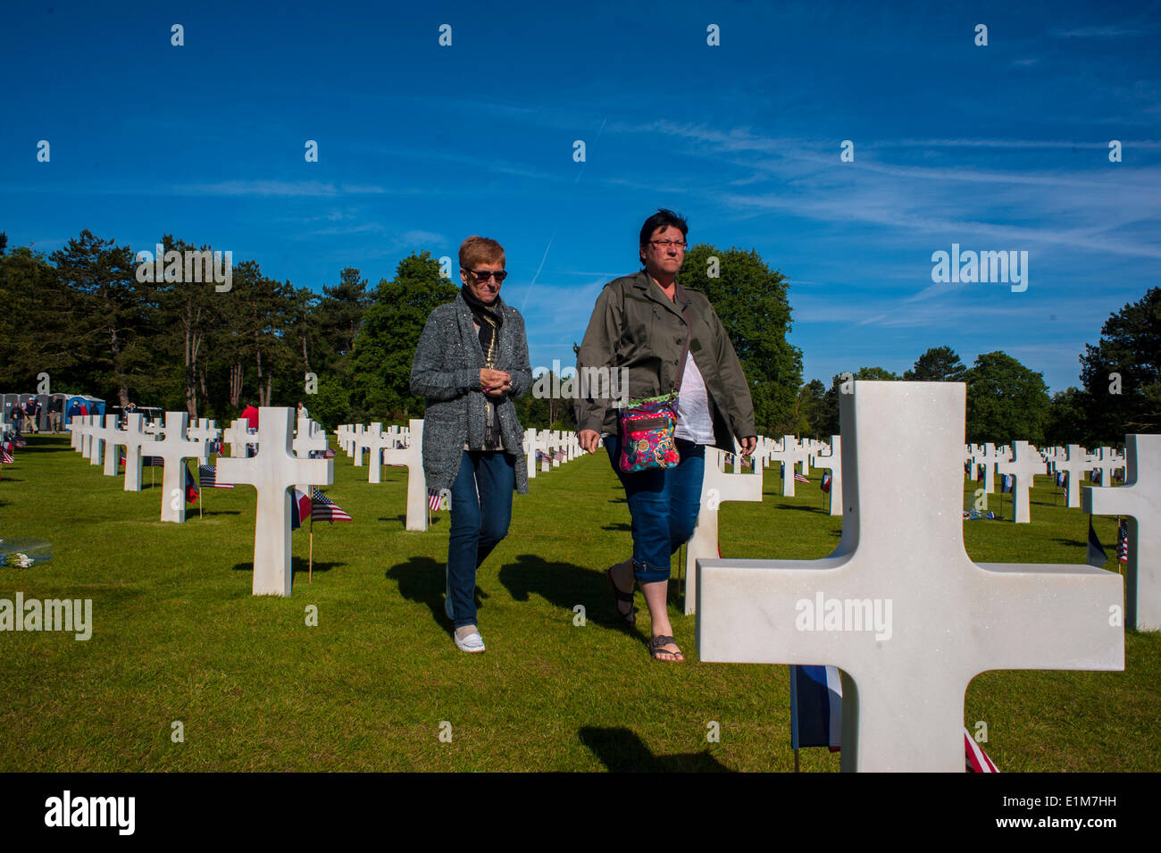 """Colleville, Normandy, France. 6th June, D-Day Anniversary American Military Cemetary, Tourists visiting """"World War Stock Photo"""