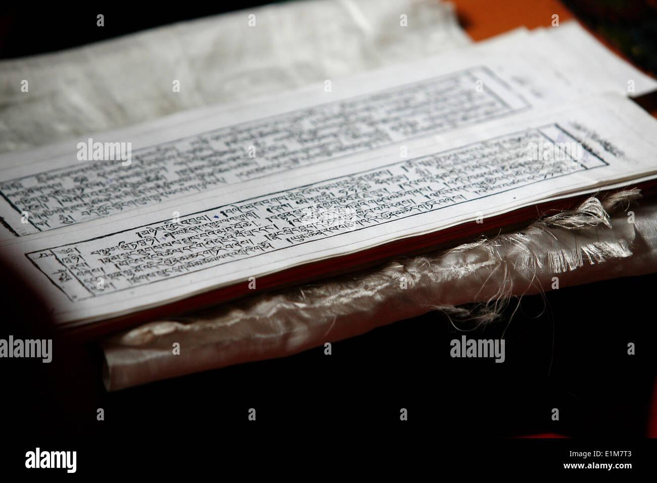 Tibetan scripture tablets - Stock Image