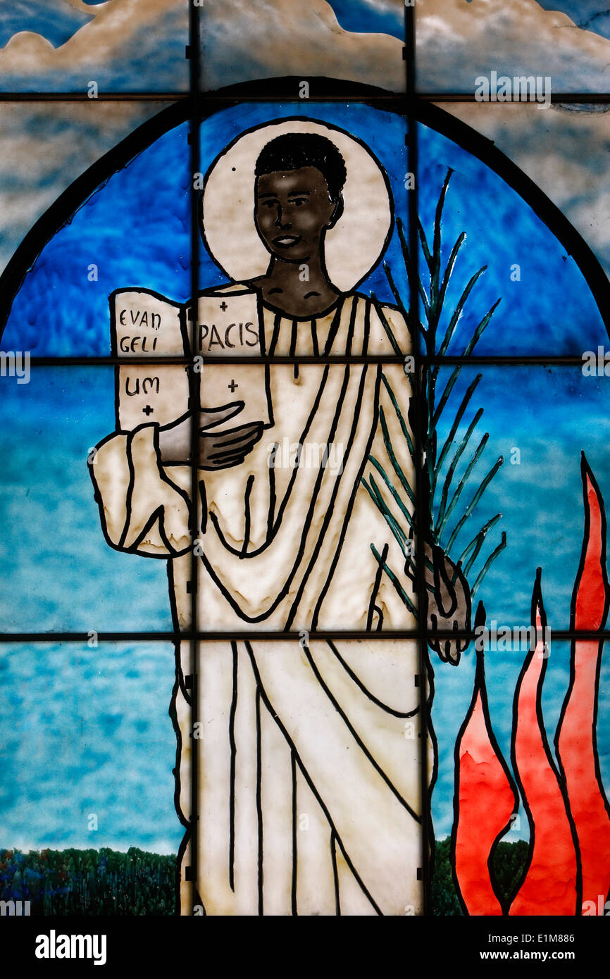 Saint Kiriwawanvu depicted on stained glass - Stock Image