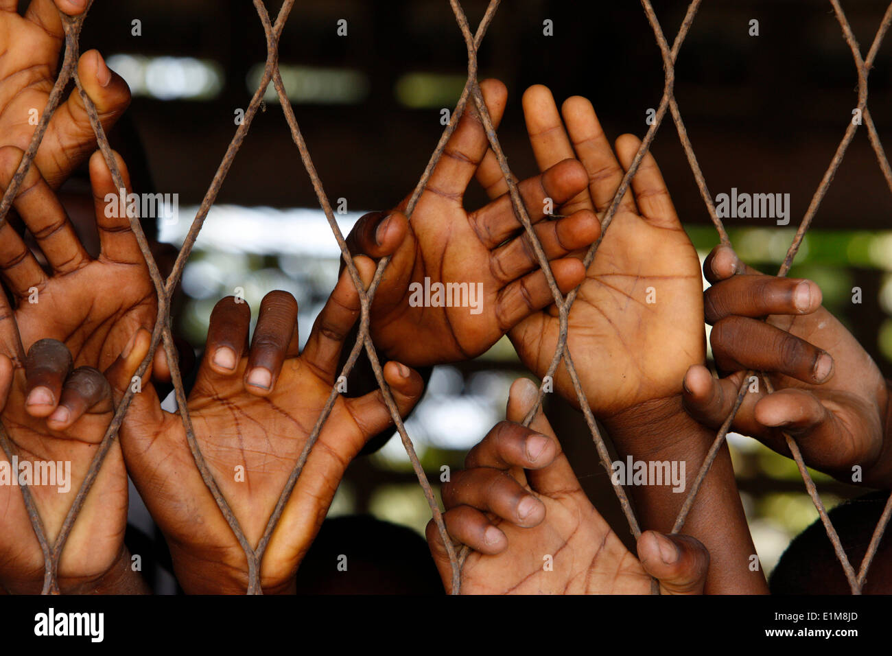 African boys' hands behind wire mesh Stock Photo