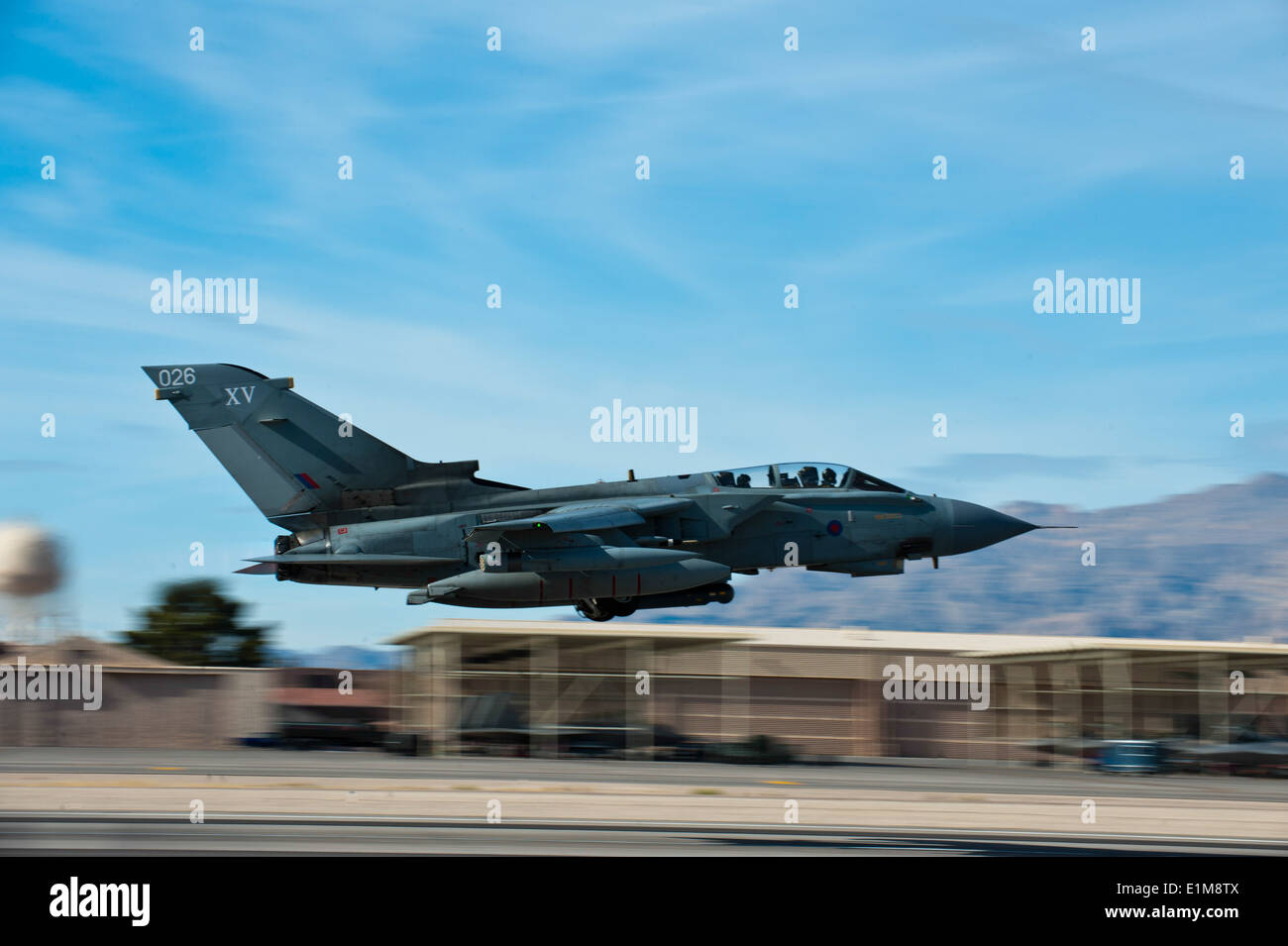 A British Royal Air Force Tornado GR4 aircraft attached to the No. 9 Squadron takes off during Red Flag 14-1 at Stock Photo
