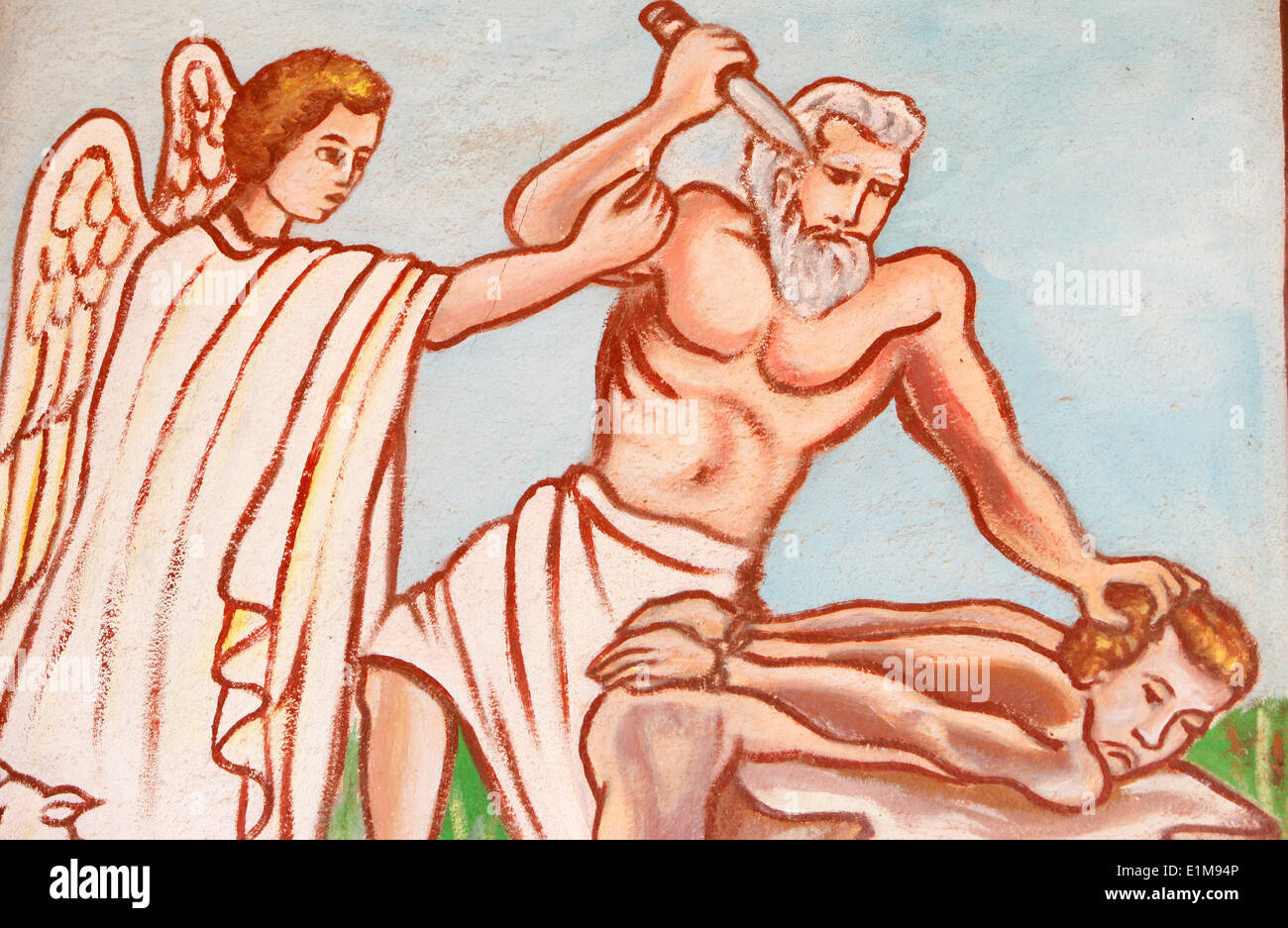 Painting in Our Lady of Togo church : Abraham's sacrifice Stock Photo