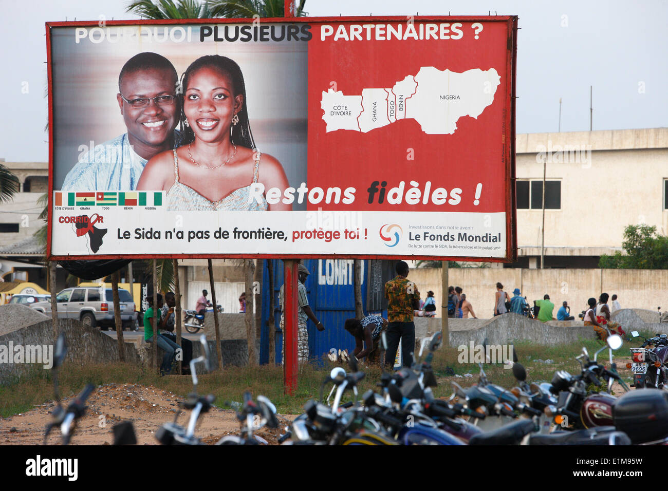 AIDS prevention billboard - Stock Image
