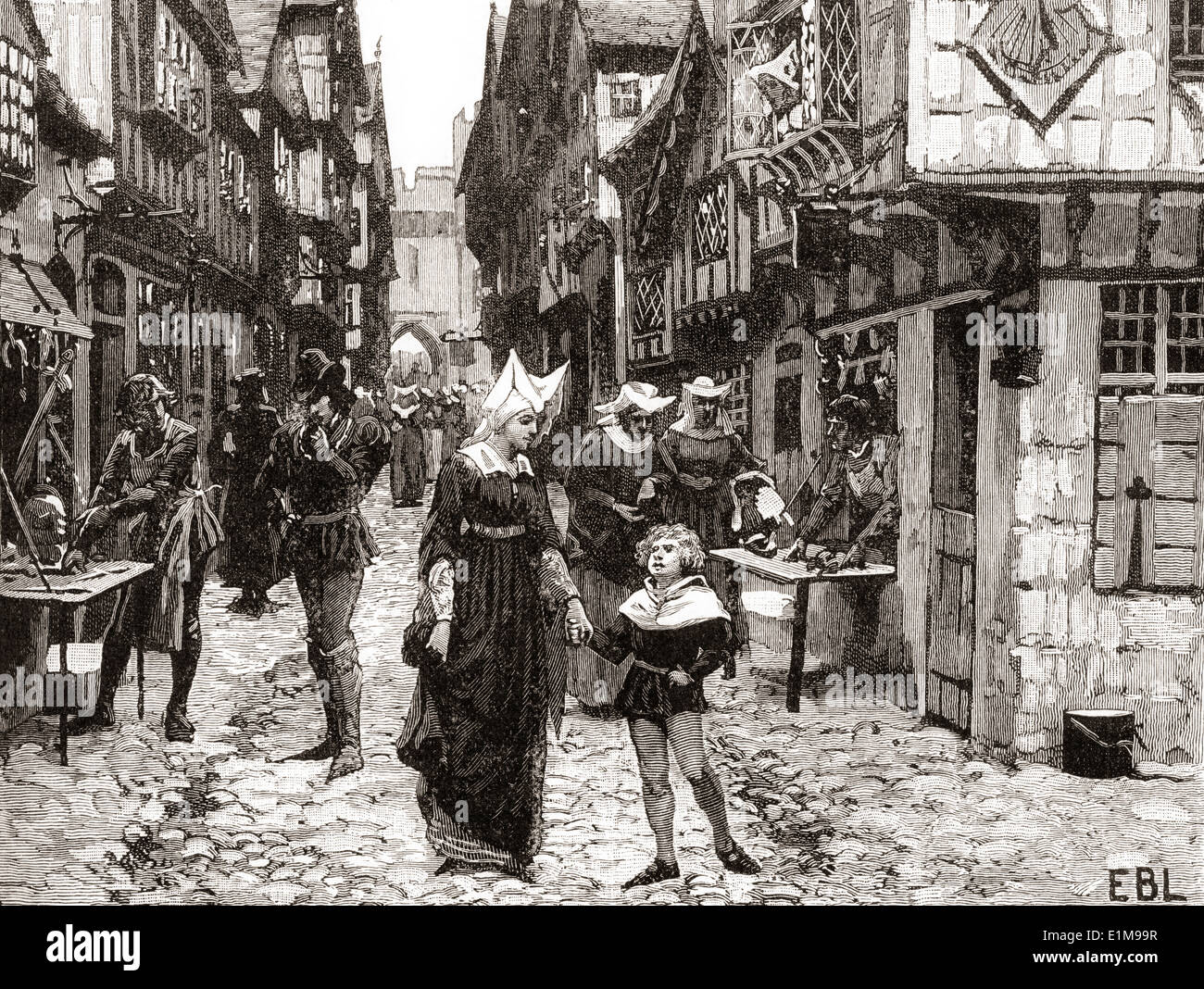 A London Street during the 15th century. - Stock Image