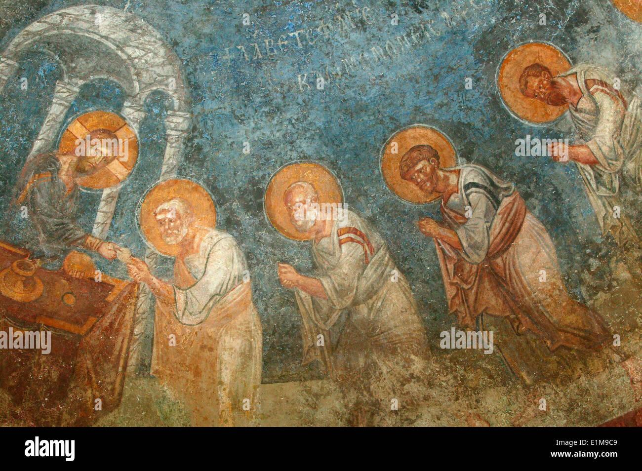 Saint Nicholas church fresco : Jesus with apostles - Stock Image